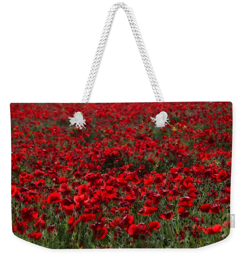 Bloom Weekender Tote Bag featuring the photograph Red Poppies by Svetlana Sewell