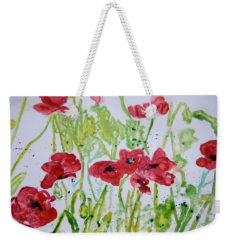 Poppy Weekender Tote Bag featuring the painting Red Poppy Flowers by Derek Mccrea