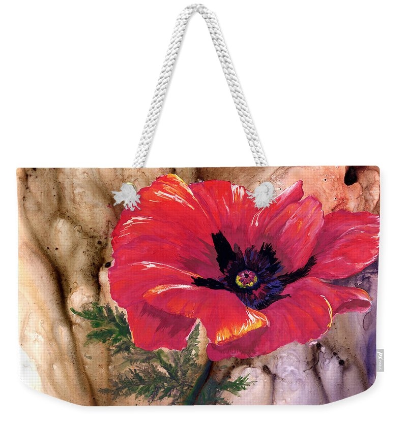 Flower Weekender Tote Bag featuring the painting Red Poppy by Sherry Shipley