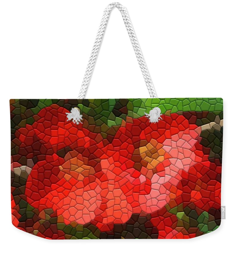 Quince Weekender Tote Bag featuring the photograph Red Quince by Kathryn Meyer