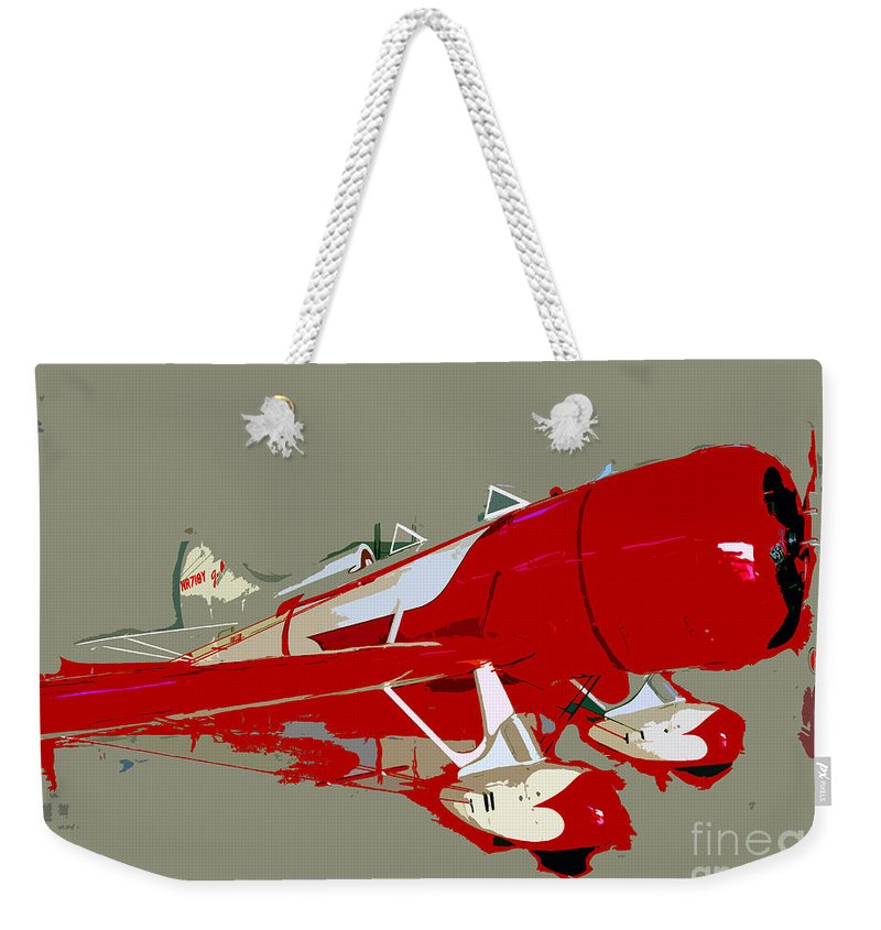 Fast Weekender Tote Bag featuring the painting Red Racer by David Lee Thompson
