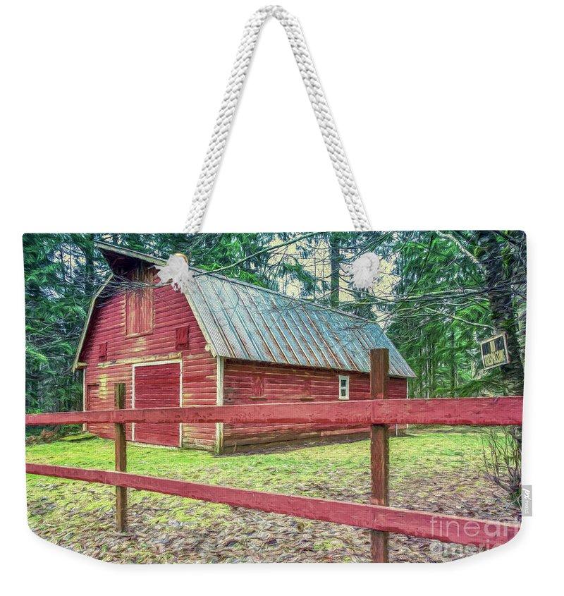 Barn Weekender Tote Bag featuring the photograph Red Rail Barn by Jean OKeeffe Macro Abundance Art