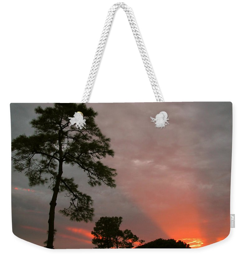 Nature Weekender Tote Bag featuring the photograph Red Rays by Peg Urban