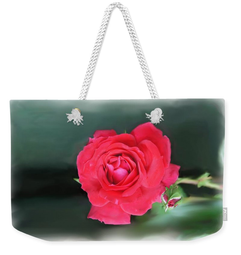 Red Rose Weekender Tote Bag featuring the photograph Red-red Rose. by Elena Perelman