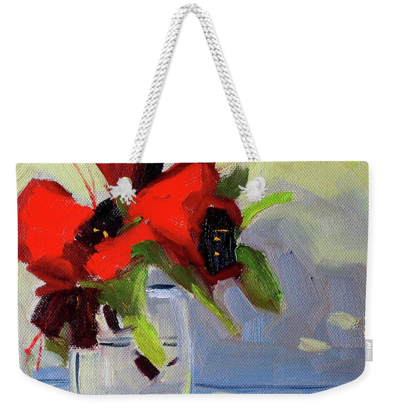 Rhododendron Painting Weekender Tote Bag featuring the painting Red Rhody by Nancy Merkle