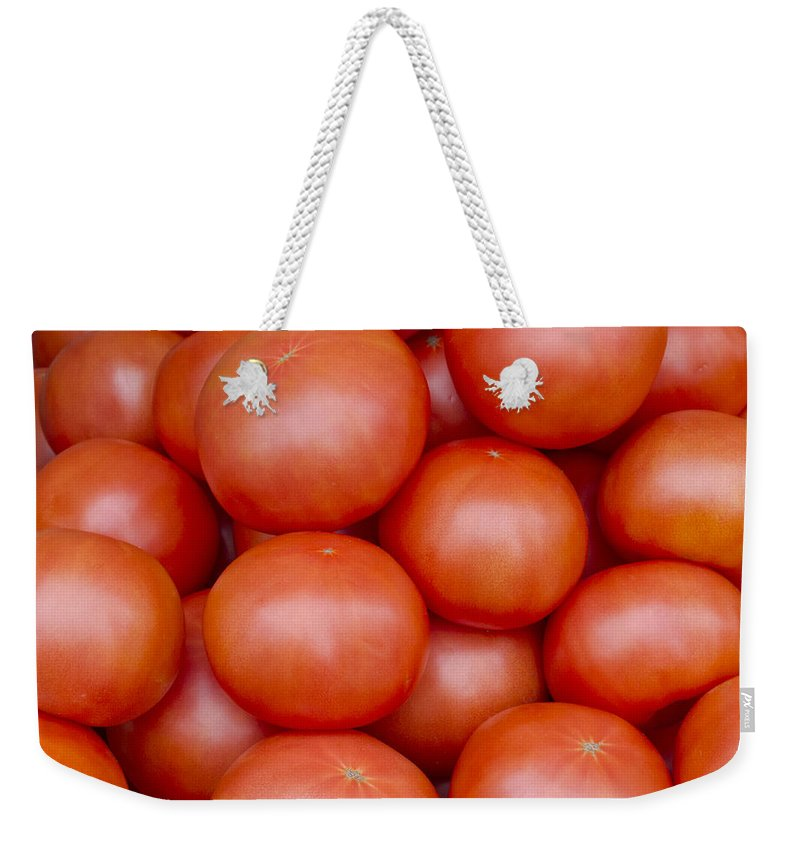 Fruit Weekender Tote Bag featuring the photograph Red Ripe Tomatoes by John Trax