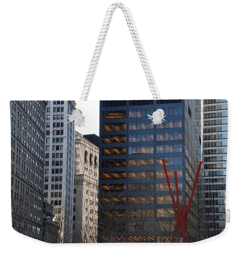 Street Scene Weekender Tote Bag featuring the photograph RED by Rob Hans