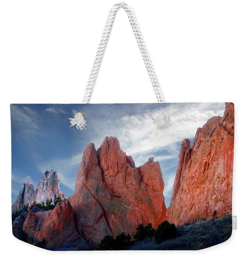 Garden Of The Gods Weekender Tote Bag featuring the photograph Red Rock by Anthony Jones