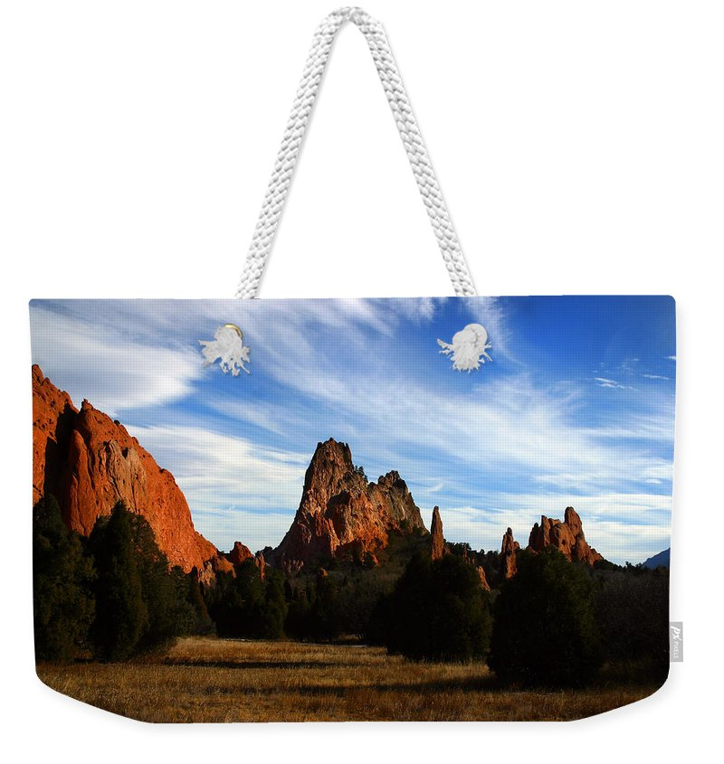 Garden Of The Gods Weekender Tote Bag featuring the photograph Red Rock Formations by Anthony Jones