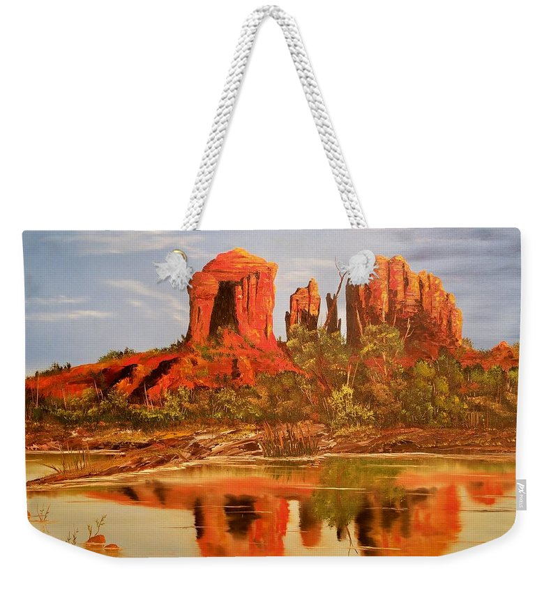 Rocks Weekender Tote Bag featuring the painting Red Rock by Patrick Trotter