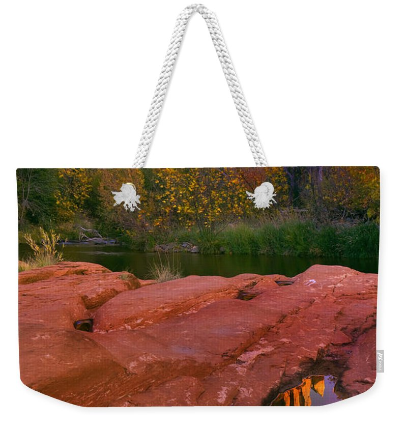 Reflection Weekender Tote Bag featuring the photograph Red Rock Reflection by Mike Dawson