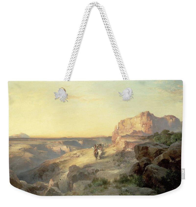Thomas Moran Weekender Tote Bag featuring the painting Red Rock Trail by Thomas Moran