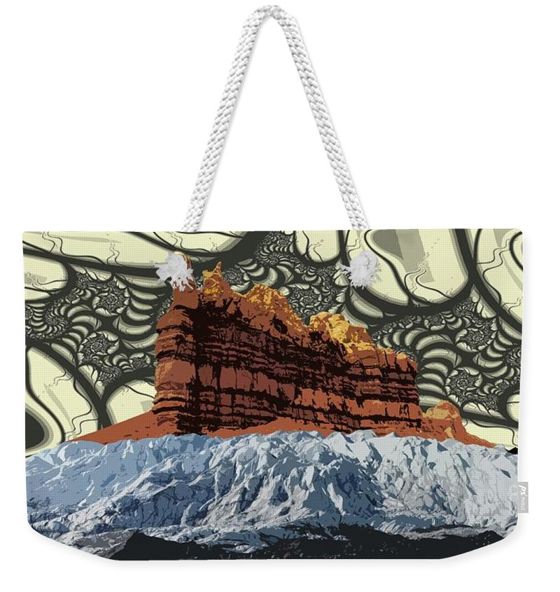 Glacier Art Weekender Tote Bag featuring the digital art Red Rock White Ice by Ron Bissett