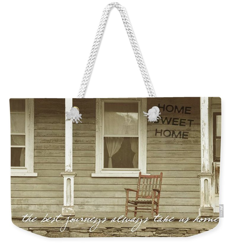 Mansion Weekender Tote Bag featuring the photograph Red Rocker Quote by JAMART Photography