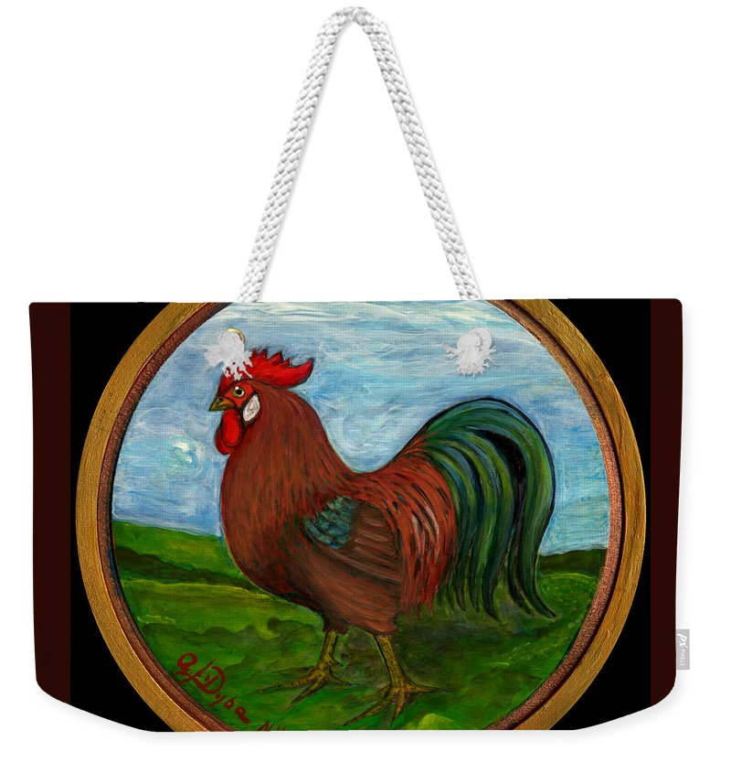 Folkartanna Weekender Tote Bag featuring the painting Red Rooster by Anna Folkartanna Maciejewska-Dyba