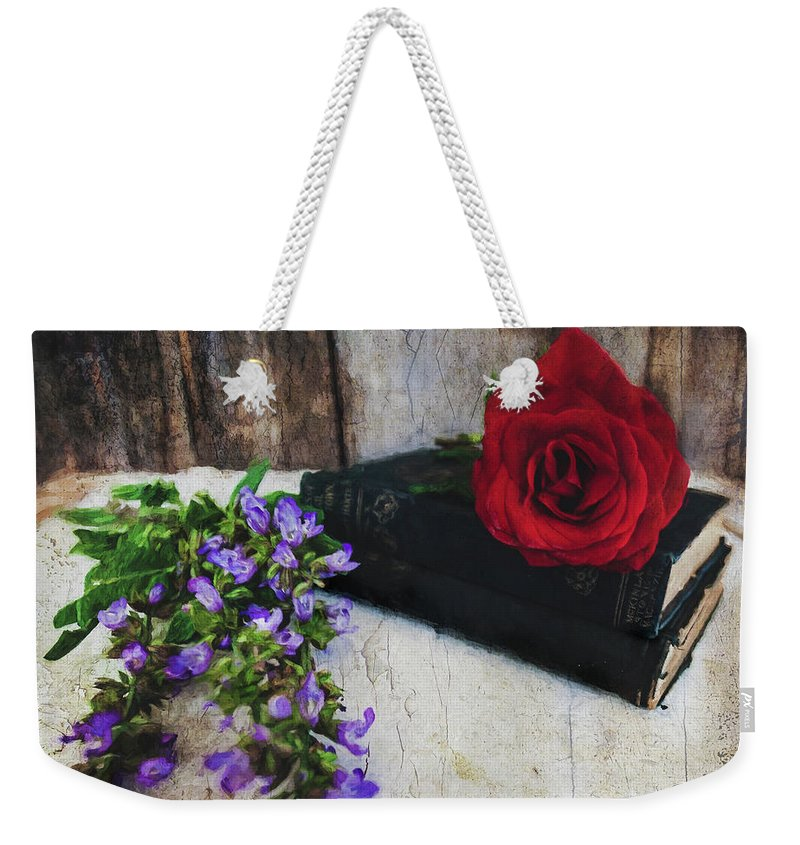 Red Rose And Sage With Vintage Books Weekender Tote Bag featuring the photograph Red Rose And Sage With Vintage Books by Anna Louise