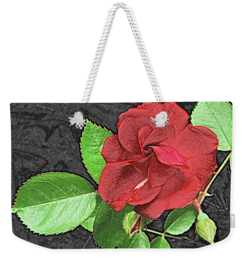 Rose Weekender Tote Bag featuring the photograph Red Rose For My Lady by Michael Peychich