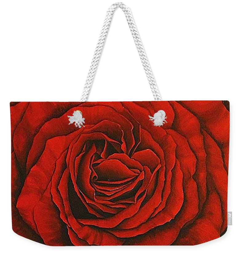 Red Weekender Tote Bag featuring the painting Red Rose II by Rowena Finn