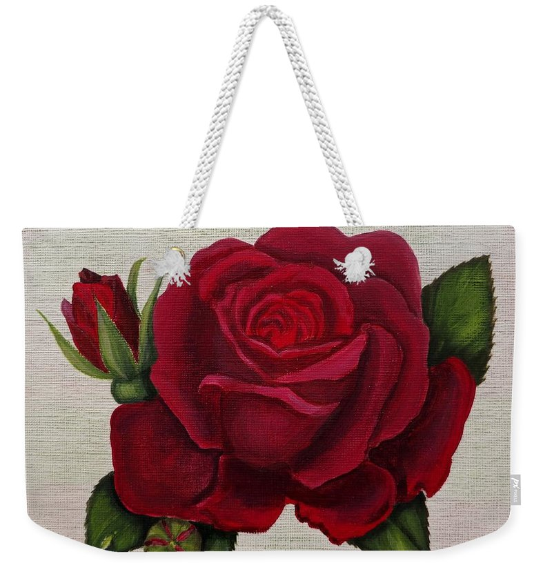 Rose Art Weekender Tote Bag featuring the painting Red Rose by Zina Stromberg