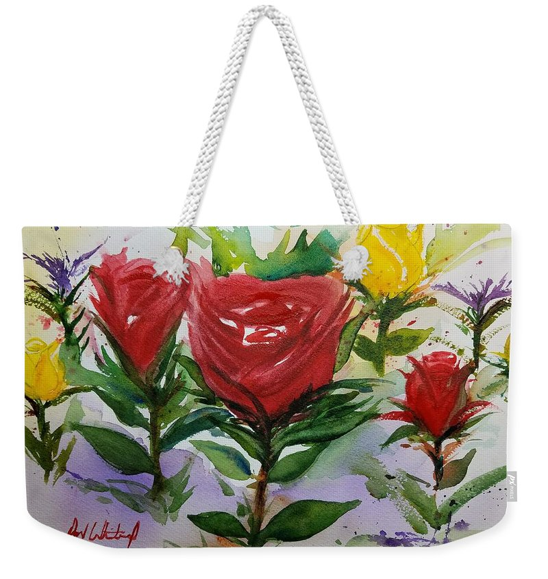 Watercolor Painting Weekender Tote Bag featuring the painting Red Roses by Don Whitesel