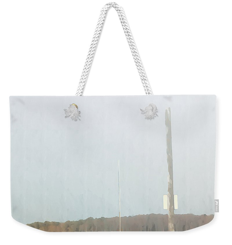 Bay Weekender Tote Bag featuring the photograph Red Sailboat In The Fog by Bill Cannon
