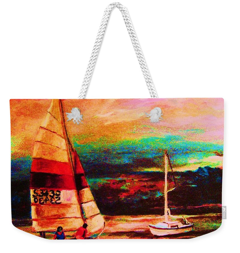 Sailing Weekender Tote Bag featuring the painting Red Sails In The Sunset by Carole Spandau