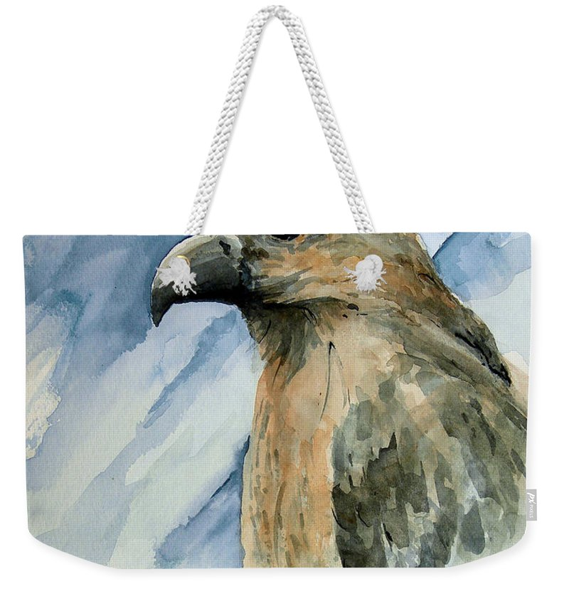 Bird Weekender Tote Bag featuring the painting Red by Sam Sidders