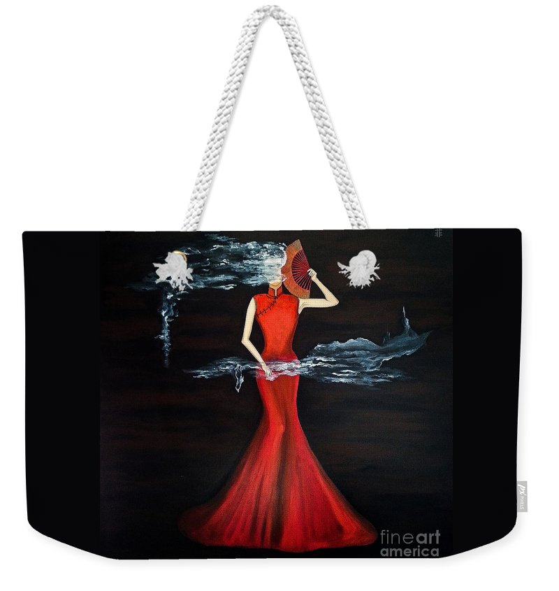 Contemporary Weekender Tote Bag featuring the painting Scented Red Color by Fei A