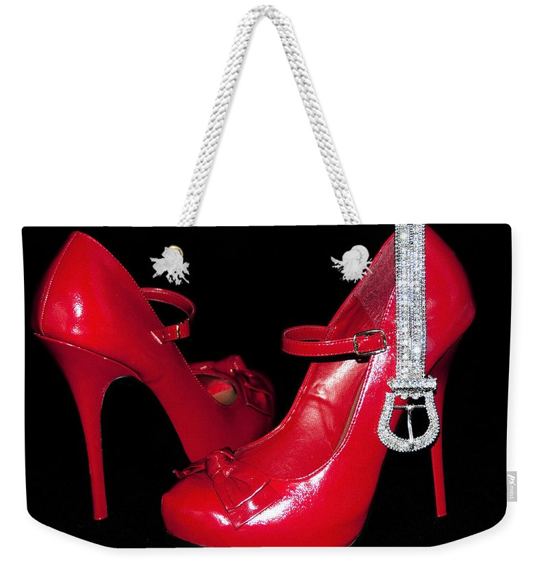 Stockings Weekender Tote Bag featuring the photograph Red Shoes by Svetlana Sewell