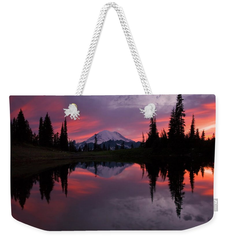 Rainier Weekender Tote Bag featuring the photograph Red Sky at Night by Mike Dawson