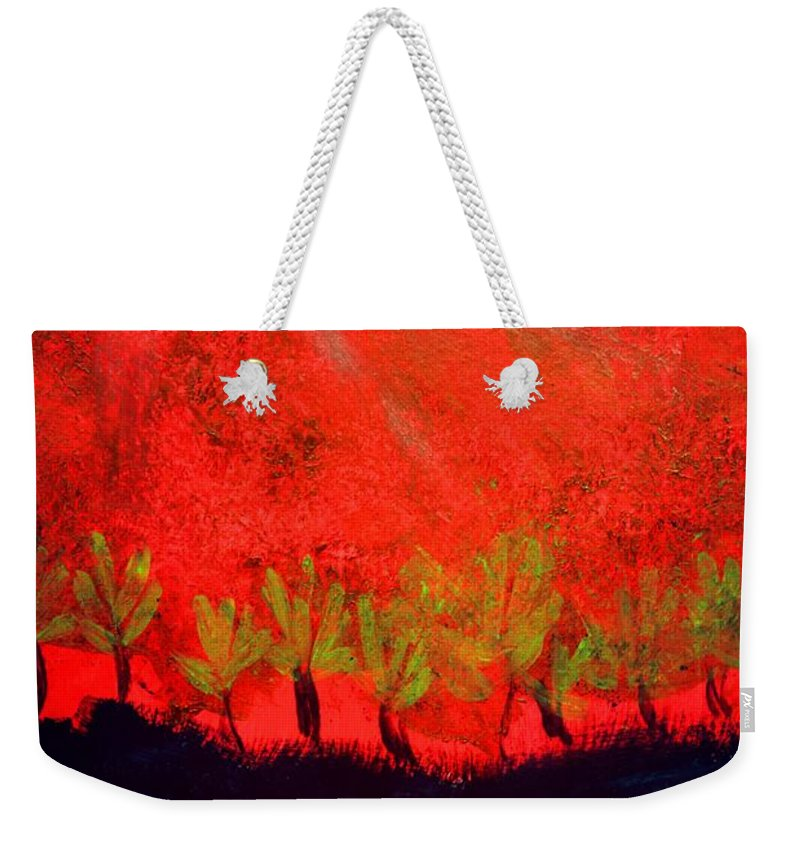 Red Sky Weekender Tote Bag featuring the painting Red Sky by Valerie Dauce