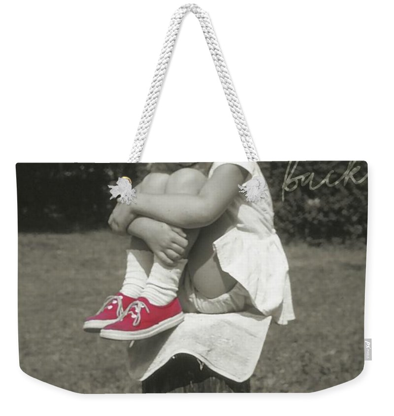 Child Weekender Tote Bag featuring the photograph Red Sneakers Quote by JAMART Photography
