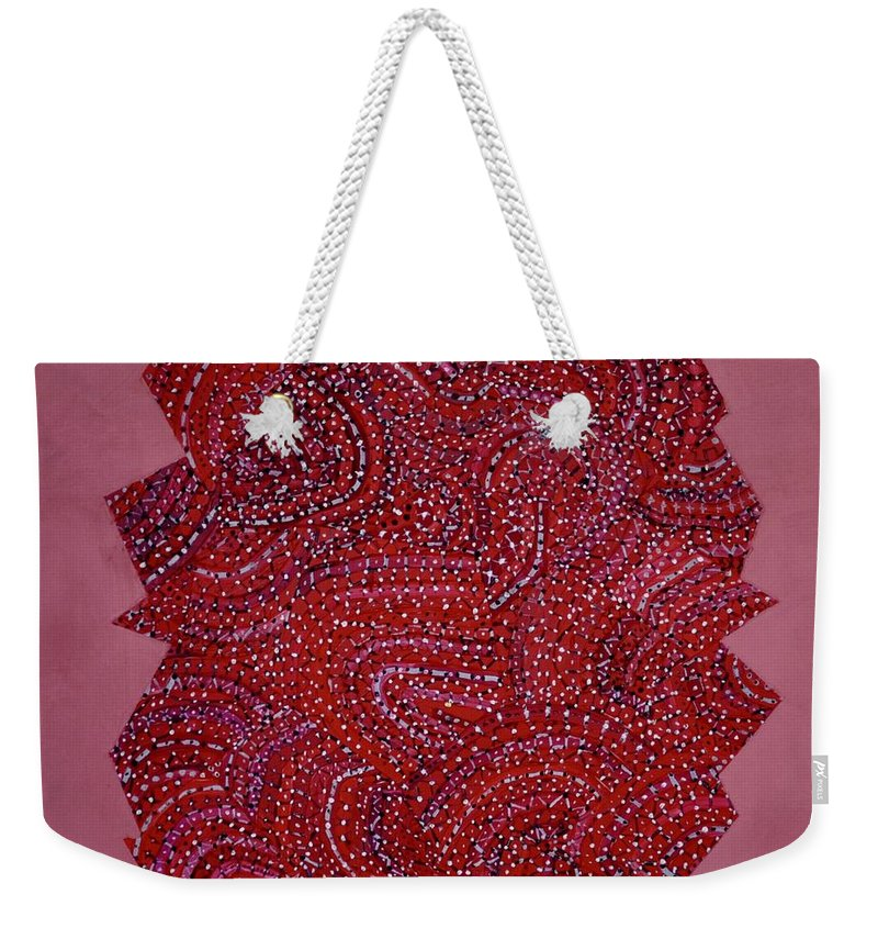 Abstract Weekender Tote Bag featuring the painting Red Spiral by Roger Kipp