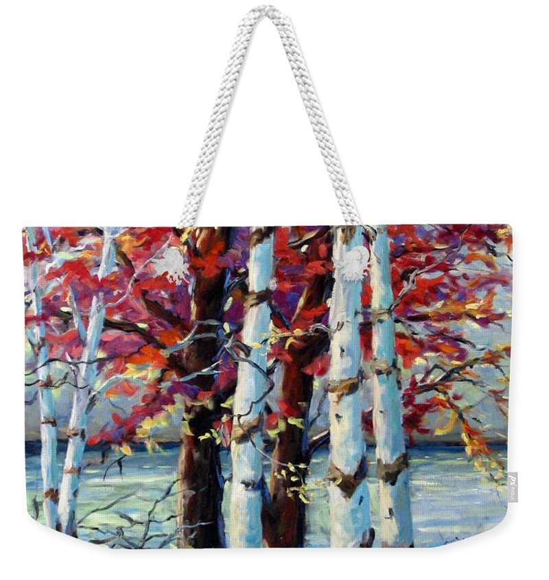 Birches Weekender Tote Bag featuring the painting Red Splash by Richard T Pranke