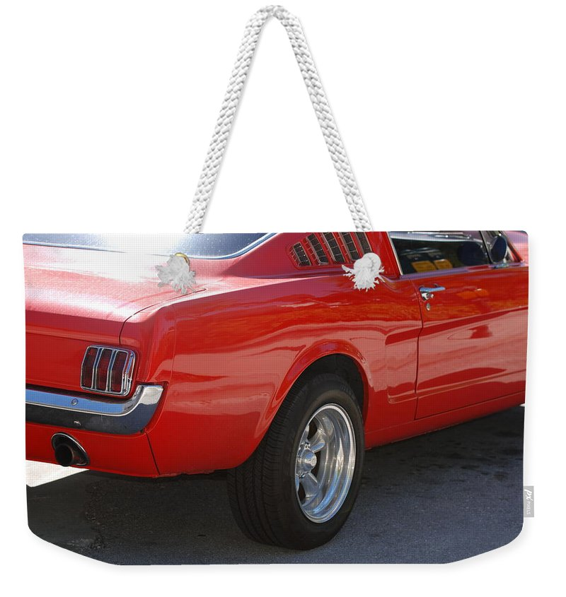 Ford Weekender Tote Bag featuring the photograph Red Stang by Rob Hans
