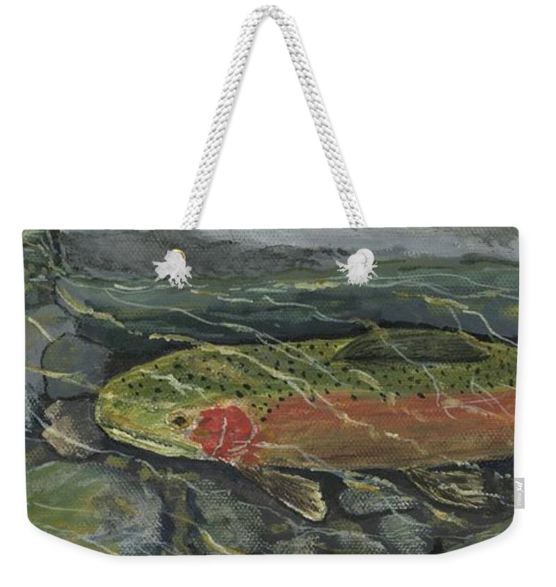Fish Weekender Tote Bag featuring the painting Red Steelhead by Sara Stevenson
