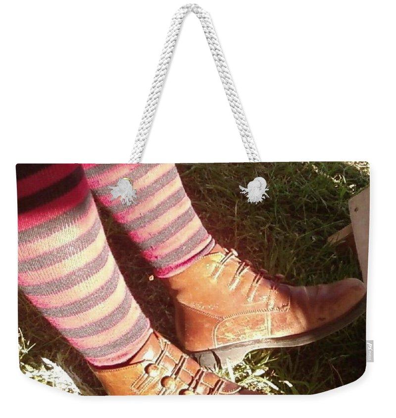 Stockings Red Witchy Boots Weekender Tote Bag featuring the photograph Red Stockings by Cindy New