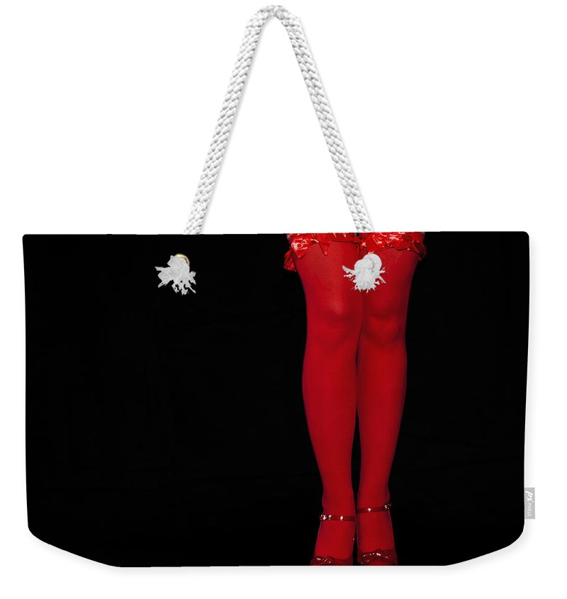 Stockings Weekender Tote Bag featuring the photograph Red Stockings by Svetlana Sewell