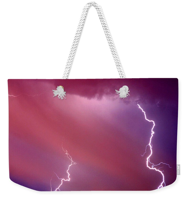 Sky Weekender Tote Bag featuring the photograph Red Storm by Anthony Jones