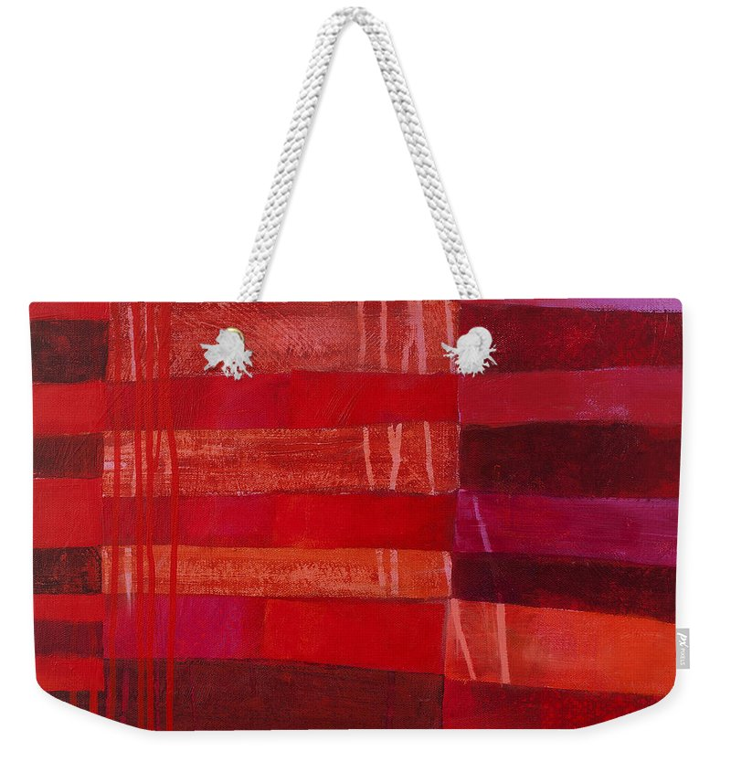 Abstract Art Weekender Tote Bag featuring the painting Red Stripes 2 by Jane Davies