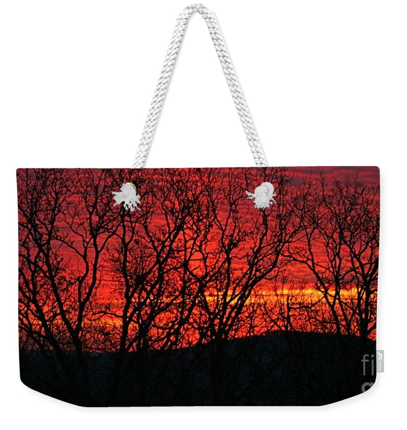 Sunrise Weekender Tote Bag featuring the photograph Red Sunrise Over The Ozarks by Nadine Rippelmeyer