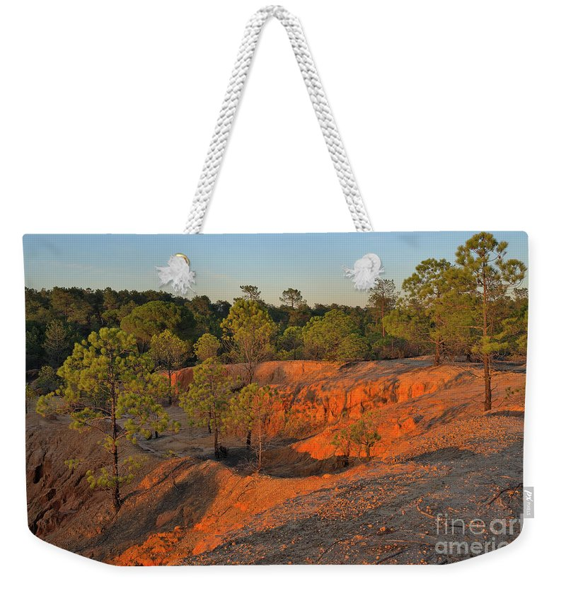 Trees Weekender Tote Bag featuring the photograph Red Sunset Cliffs by Angelo DeVal