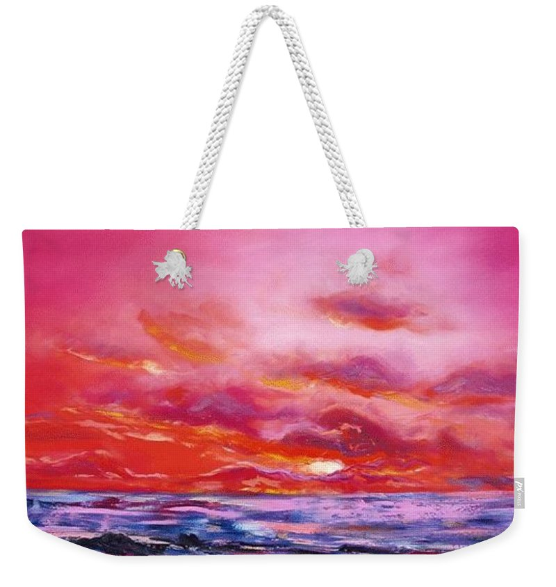 Red Weekender Tote Bag featuring the painting Red Sunset by Gina De Gorna