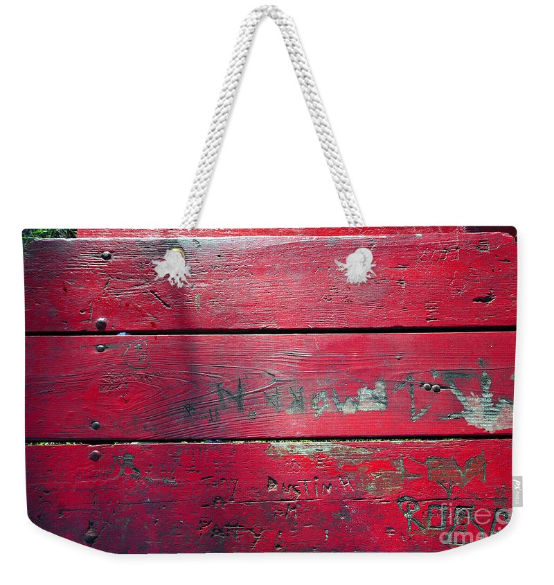 Red Table Weekender Tote Bag featuring the photograph Red Table by David Lee Thompson