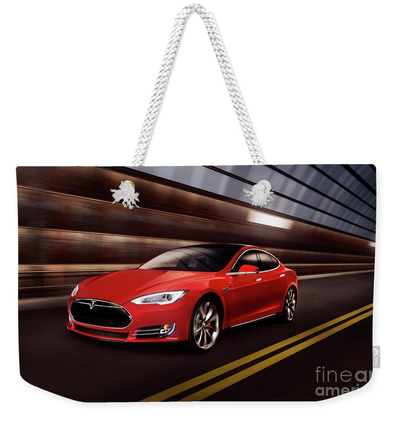 Tesla Weekender Tote Bag featuring the photograph Red Tesla Model S Red Luxury Electric Car Speeding In A Tunnel by Maxim Images Prints