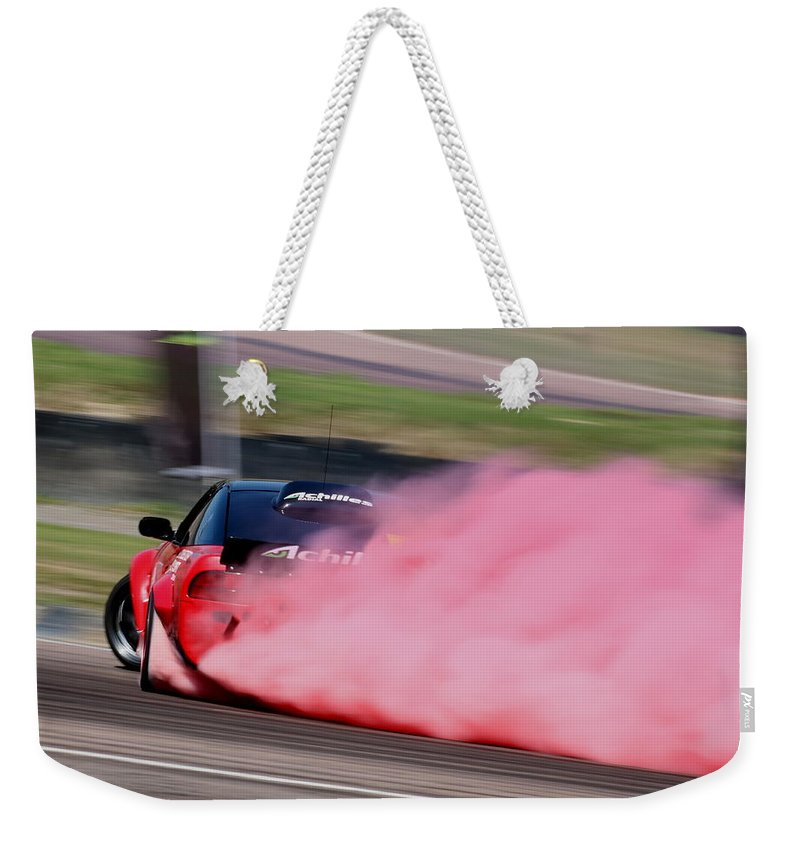 Car Weekender Tote Bag featuring the photograph Red To Pink - Drifter by Perggals - Stacey Turner