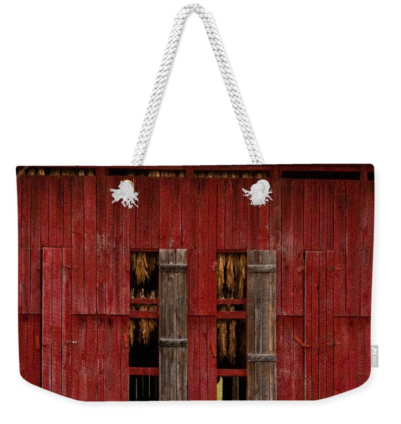 Tobacco Weekender Tote Bag featuring the photograph Red Tobacco Barn by Douglas Barnett