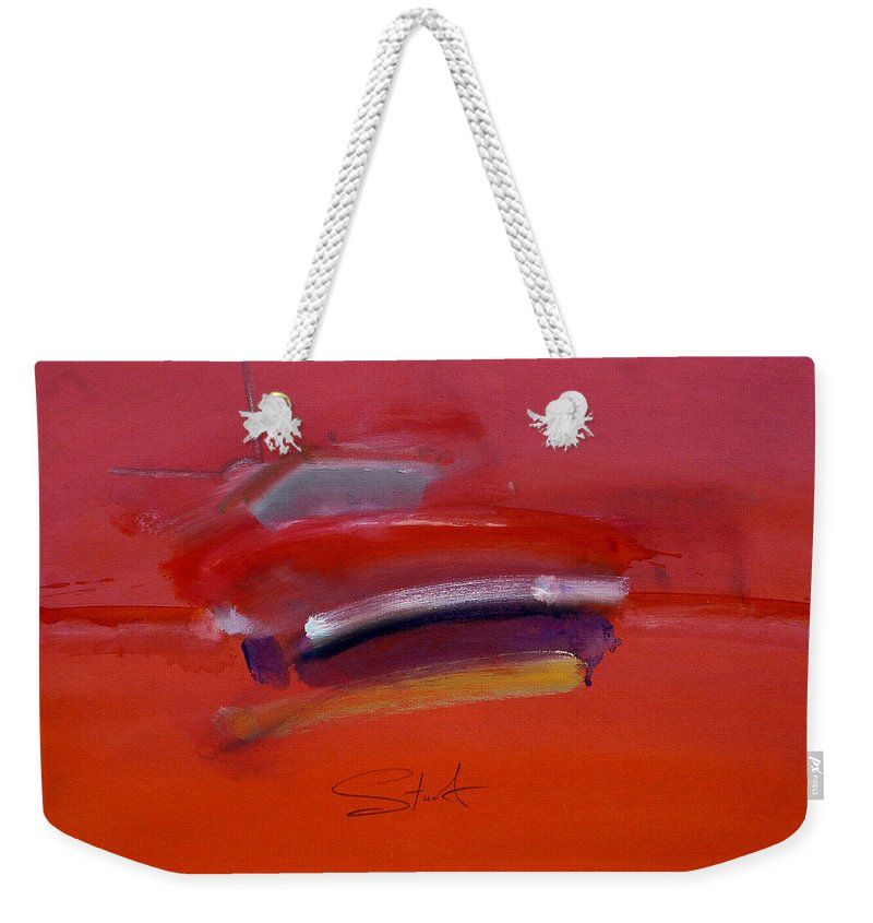 Fishing Boats Weekender Tote Bag featuring the painting Red Trawler by Charles Stuart