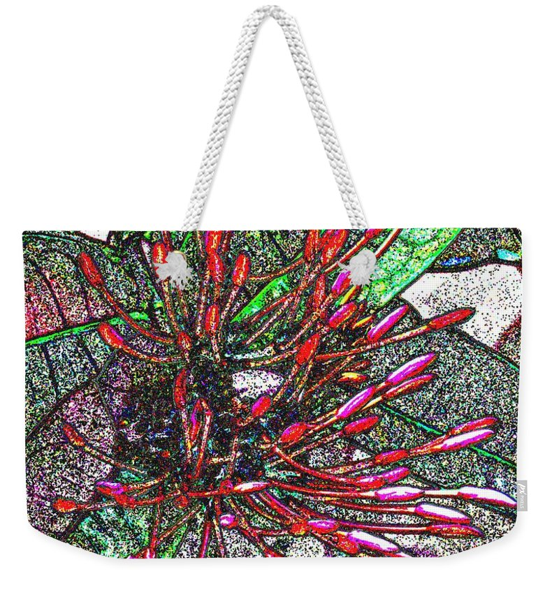 Flower Weekender Tote Bag featuring the photograph Red Tropical Flower by Ian MacDonald