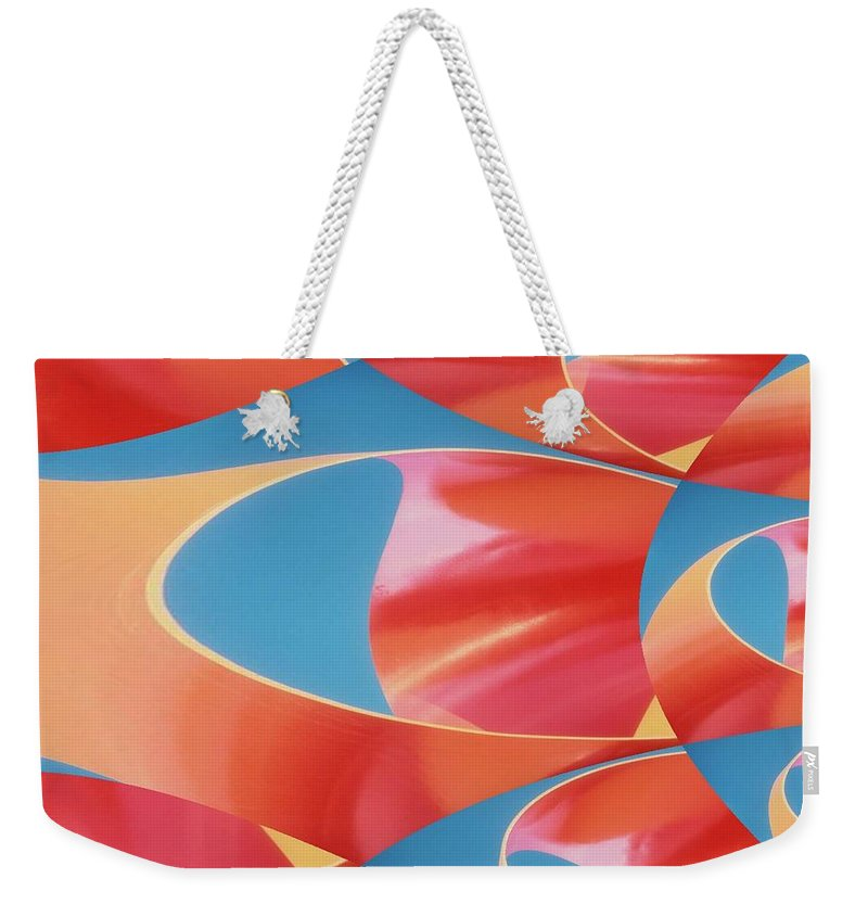 Tubes Weekender Tote Bag featuring the digital art Red Tubes by Tim Allen
